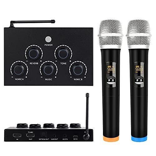 DIGITNOW! Tragbare Karaoke Mikrofon Mixer System Set, mit Dual-UHF-Funkmikrofon,HDMI-ARC/Optisch/AUX und HDMI Ein/Ausgang im Gesangsempfänger für Smart TV, PC, KTV, Heimkino, Verstärker, Lautsprecher