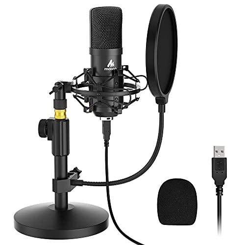 USB Mikrofon Set, MAONO AU-A04T PC Microphone, Professionelles Kondensator Mikrofon mit Stativ, 192 kHz/24 Bit, Niere, Plug & Play, Computer Mikrofon für YouTube, Podcast, Aufnahme, Streaming, PS4