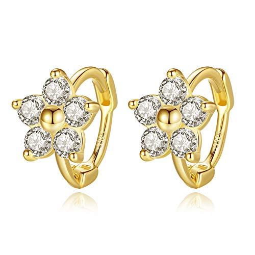 VIKI LYNN Klein Creolen Blume Ohrringe mit 925 Sterling Silber und Zirkonia Ohrringe Schmuck Geschenke für Damen