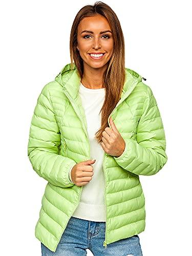 BOLF Damen Übergangsjacke Steppjacke mit Kapuze Daunenjacke Reißverschluss Sportjacke Zip Wärme Freizeit Outdoor Basic Casual Style 23032 Hellgrün L [D4D]