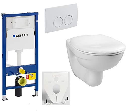 GEBERIT Duofix Vorwandelement Basic + Wand Tiefspül WC LIFE + WC-Sitz + Betätigungsplatte DELTA21