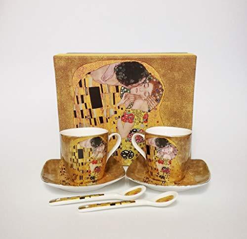Atelier Harmony Gustav Klimt Espressotassen Der Kuss 6teilig Porzellan (Beige)