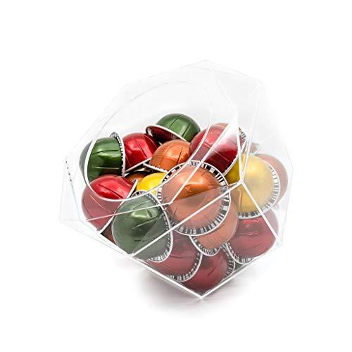 Verre Collection Hexagon Plexiglass Capsule Pod Holder, Compatible for Nespresso Vertuoline, K-Cups, Dolce Gusto, Clear Dispenser, Storage Solution (Hex)