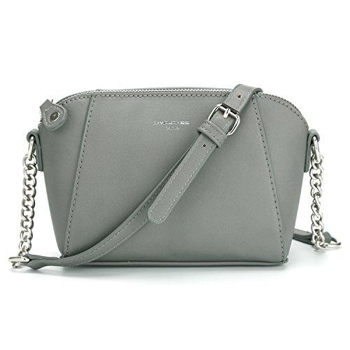 davidjones Damen PU Leder Crossbody Umhängetasche Sattel Handtaschen, Grau (grau), Medium