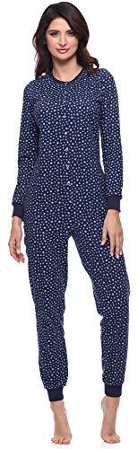 Merry Style Damen Schlafanzug Strampelanzug Schlafoverall MS10-187 (Marineblau/Sterne/Blau, S)