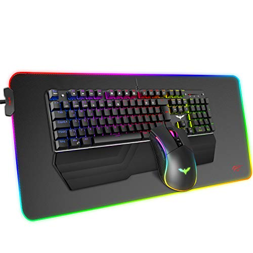 havit Mechanische Tastatur Maus RGB Mauspad Combo Blaue Schalter Kabelgebundene Gaming Tastaturen mit Abnehmbarer Handballenauflage, programmierbarer Maus für PC Computer Desktop