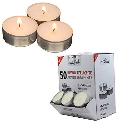 Candelo 50er Set Hochwertige Jumbo Teelichte Ambiente – 2,3 x 5,5cm je Teelicht - Kerzen Teelichter in Weiß - in Spender Box - Aluminium Hülle - 8 Std Brenndauer