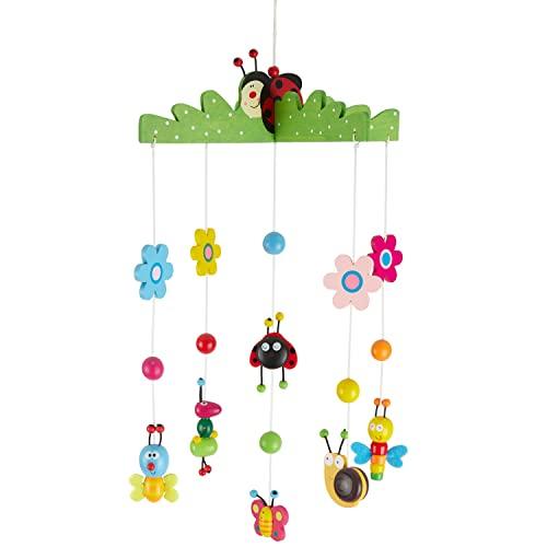 Bieco 3D Baby Mobile Käferchen aus robustem Holz | Viele bunte Tiere und Blumen | Blickfang am Babybett, Kinderbett | Wickeltisch oder am Spielbogen | Für Babys ab 0 Monaten | Einschlafhilfe