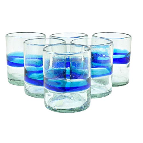 Daisy Gees, 6er Set, handgemachtes Trinkglas Mexiko, lowball Tumbler türkis blaues Band, klassisch, mundgeblasenes Recyclingglas Fairtrade Handmade Trinkgläser, Wasserglas