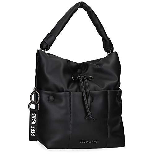 Pepe Jeans Bloat Handtasche Schwarz 26x31x12 cms Synthetisches Leder