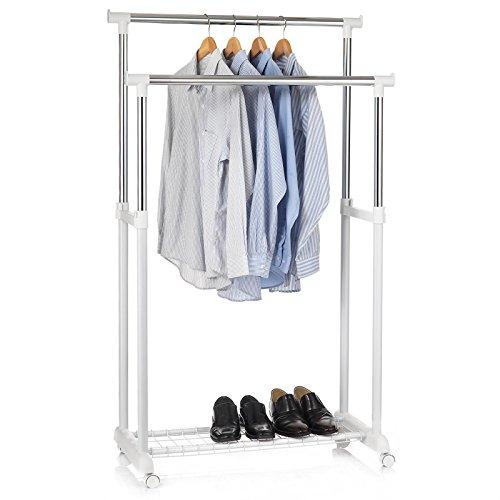 IDIMEX Garderobenwagen Grosso Kleiderständer Rollgarderobe Garderobenständer, mit Schuhablage, 2 Kleiderstangen, höhenverstellbar, Metallrohr verchromt, in weiß
