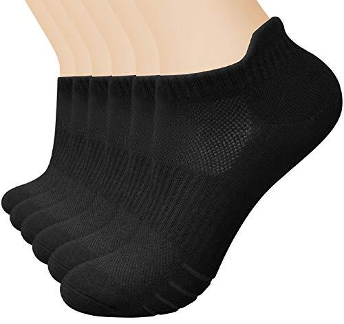 Tuopuda Sneaker Socken Damen Herren 6 Paar Anti-Rutsch Kürze Socken Gepolsterte Laufsocken Baumwolle Sportsocken Atmungsaktiv Laufsocken Knöchelsocken Outdoor Söckchen Füßlinge Schwarz Weiß Grau