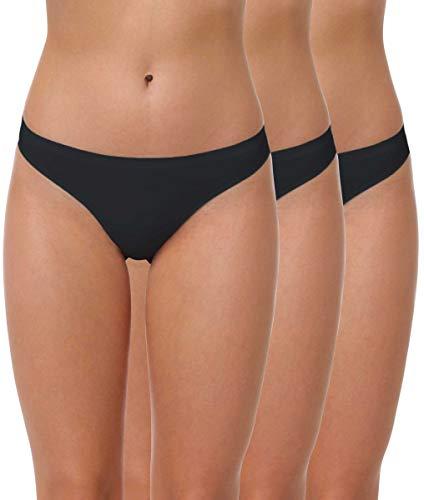 Yenita 3er Pack Damen String Invisible, Tanga ohne Nähte aus Mikrofaser, schwarz, Gr. L