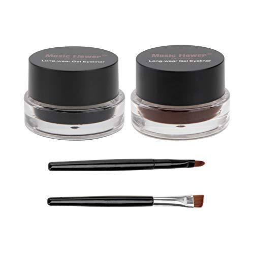 Frcolor, Music Flower, 2-in-1-Gel-Eyeliner-und-Augenbrauenfarbe-Set, Kosmetik, Make-up, Eyeliner, langhaftendes Gel, wasserfest, braun und schwarz, mit Augenbrauenpinseln