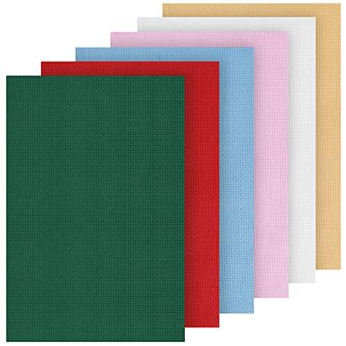 Gukasxi 6 Stück Aida Stoff 14 Count Kreuzstich Stoff Baumwolle Stickerei Stoff Kreuzstich Tuch für Näharbeit DIY Sticken Stoff Handwerk, 30 x 45 cm, 6 Farben (Mehrfarbig A)
