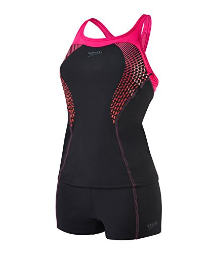 Speedo Damen Fit Tankini Kickback Badeanzug Swimwear mehrfarbig (Black/Electric Pink/Lava Red), Gr. 32 (Herstellergröße: 28)
