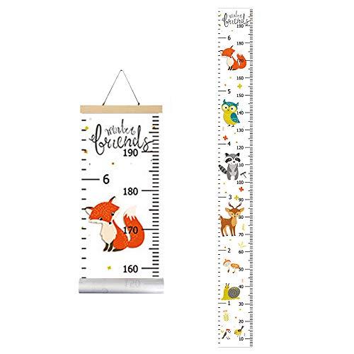 IWILCS Wachstum Messlatte, Höhe Wachstum Diagramm, Baby Messlatte Höhe Diagramm, mit Cartoon Fox Pattern für Schlafzimmer Kinderzimmer-Wanddekorationen(200cm *20cm)
