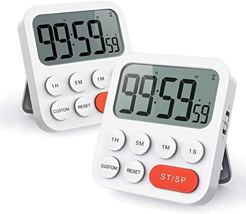 LIORQUE Digitaler Küchentimer Magnetisch Stoppuhr Eieruhr Timer mit Uhr, Magnet, 3-stufiger Lautstärke, LCD Anzeige für Kochen, Sport, Studieren, 2 Stück, inkl. Batterien
