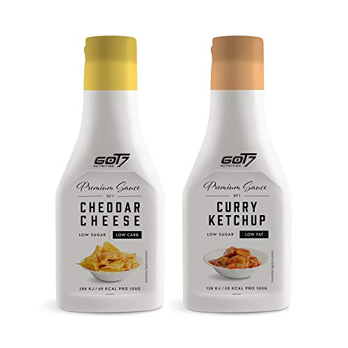 Got7 Premium Sauce - Kalorienfreie Grill, Burger und Würz Sauce - Perfekt zum Abnehmen - 285 ml (Curry Ketchup & Cheddar Cheese, 2x 285ml), 570 ml