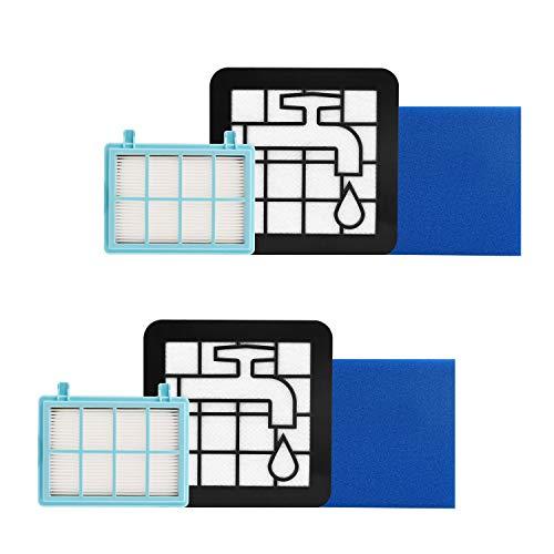 Jajadeal 2er-Pack Filter für Philips PowerPro Compact und Marathon Compact Staubsauger FC9331/09 FC9332/09, Ersatzfilterset Zubehör FC8010/01