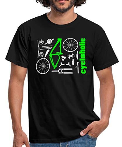Spreadshirt MTB Teile Cycloholic Mountainbike Komponenten Männer T-Shirt, L, Schwarz