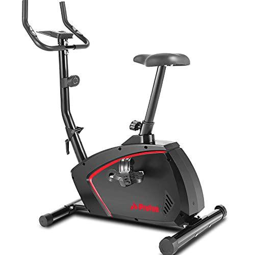 Profun Magnetischer aufrechter Heimtrainer mit 10-Stufen-Widerstand, leise und komfortabel, stationäres Indoor-Cycling-Fahrrad für das Cardio-Training zu Hause mit verstellbarem Sitz, Monitor, Rädern