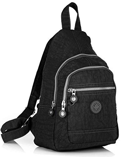 ekavale - Leichter Mini Rucksack Für Mädchen Und Damen sportlicher Daypack für Freizeit Fahrrad Sport Wandern Reise 6 Farben (Schwarz)