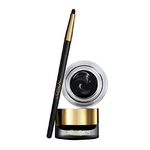 L'Oréal Paris Wasserfester Eyeliner, Farbintensiver Gel-Eyeliner mit präzisem Pinsel, 24h Halt, Super Liner Gel Intenza, Nr. 01 Pure Black, 1 x 2,8 g