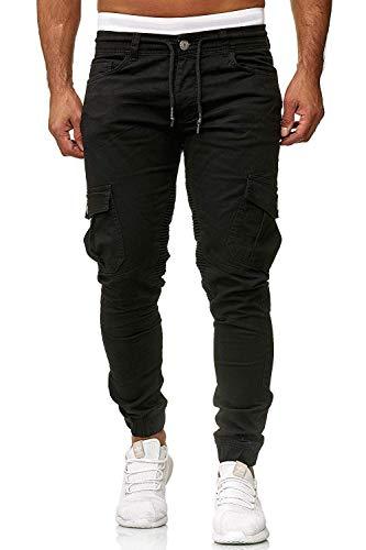 Cassiecy Herren Hosen Cargo Chino Jeans Stretch Jogger Sporthose Herren Hose mit Taschen Slim Fit Freizeithose, Schwarz, M