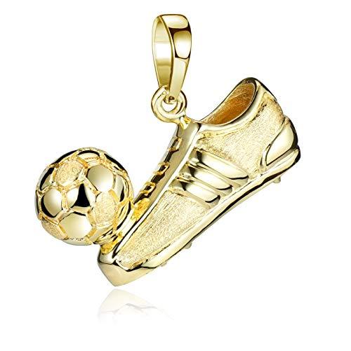 MATERIA Fussball Anhänger Gold - 925 Silber Kettenanhänger Herren, Jungs, Damen vergoldet in Box KA-70-Gold