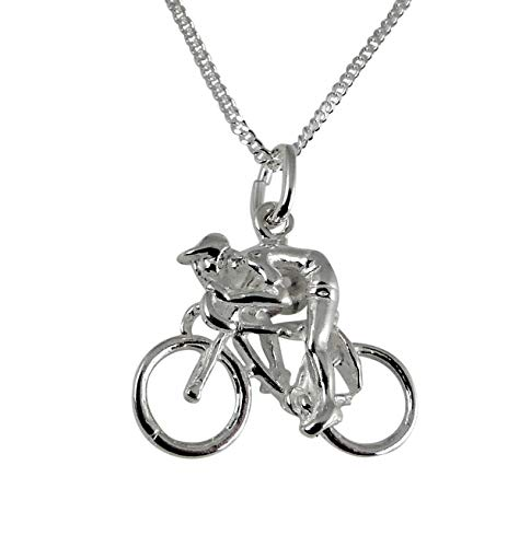 Anhänger Rennradfahrer Fahrrad Rennrad mit Panzerkette 45 cm echt 925er Silber