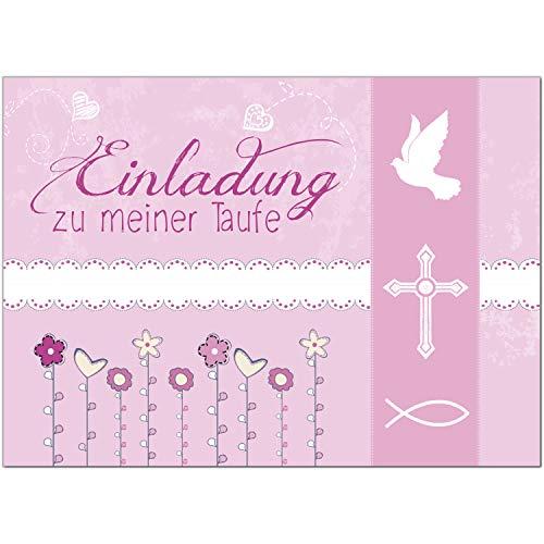 15 x Einladung zur Taufe/Einladungskarten mit Umschlag im Set/Einladung zu meiner Taufe Rosa Modern/Baby Taufkarte/Grußkarte/Postkarte /
