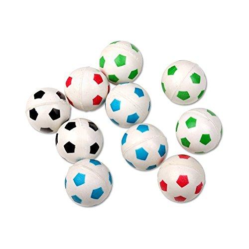 Schramm® 10 Stück Flummis Fußball Design ca. 27mm Flummi Springball Hüpfball Mitgebsel Tombola Kindergeburtstag