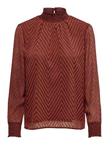 ONLY Damen Onlnew Kayla L/S TOP WVN Bluse, Rot (Henna Henna), Large (Herstellergröße: 40)