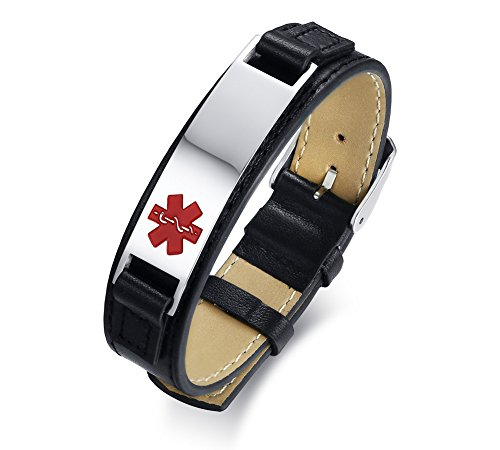 VNOX Kostenlose Eingraviert Medical Alert ID-Tag Angepasst Leder Personalisierte Armband, Verstellbar, 17,5 + 4 cm
