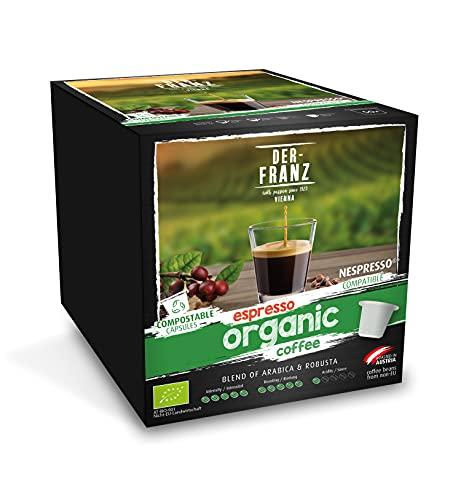 DER-FRANZ Espresso Bio-Kaffeekapseln, mit Nespresso kompatibel, 100% kompostierbar, 50 Kapseln