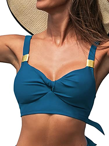 CUPSHE Damen Bikini Oberteil Twist Bikini Bademode Herzausschnitt Breite Träger Bikini Top Blau S