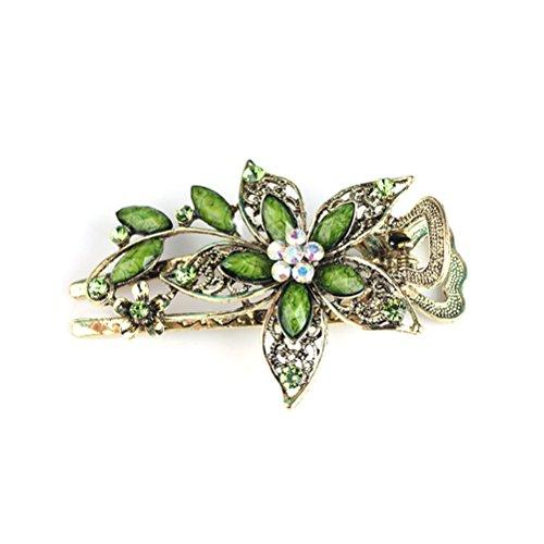 Vintage Damen Blume Kristall Haarspangen Haarspangen Haarschmuck (grün)