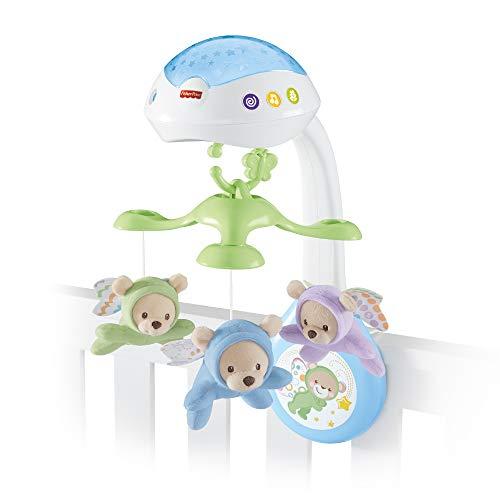 Fisher-Price CDN41 3-in-1 Traumbärchen Mobile Nachtlicht mit beruhigender Musik und White Noise mit Sternenlichtern Babyerstausstattung, ab 0 Monaten