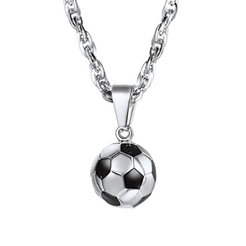 PROSTEEL Damen Herren Anhänger Halskette Edelstahl 3D Fußball Design Kettenanhänger mit Kette Ball Form Halsschmuck, Silber