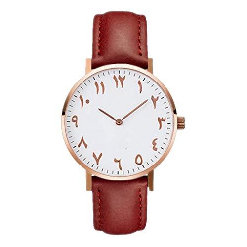 Aoogo Uhren Damenuhr Lederband Armbanduhr Einfach Muster Zifferblatt Uhr Sommer Reise Casual Stil Analoge Quarzuhr für Frauen Mädchen