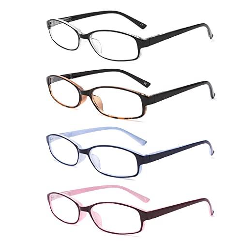 BOSAIL 4er-Pack Lesebrille Blaulichtfilter Brille für Damen,Gute Brillen,Hochwertig Federscharnier Lesehilfe Sehhilfe Brille mit Stärke 2.5
