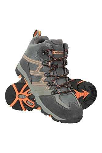 Mountain Warehouse Oscar Kinder-Wanderschuhe - Strapazfähige Wanderstiefel, atmungsaktive Mädchen- & Jungenschuhe, Wildleder- Für Zelten & Trekking Dunkelgrau 32