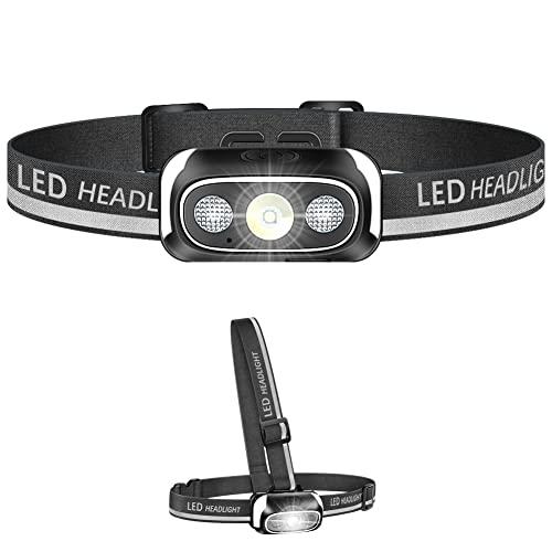 Stirnlampe LED, 2 IN 1 Kopflampe und Lauflicht, Superheller USB Wiederaufladbare Wasserdicht Stirnleuchte für Outdoor, Camping, Fischen, Laufen, Joggen, Wandern, Lesen, Arbeiten