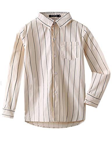 Spring&Gege Jungen Langarm Button Down Shirt Vertikal gestreifte Freizeithemden Hemden, Beige Vertikale Streifen, 128 134