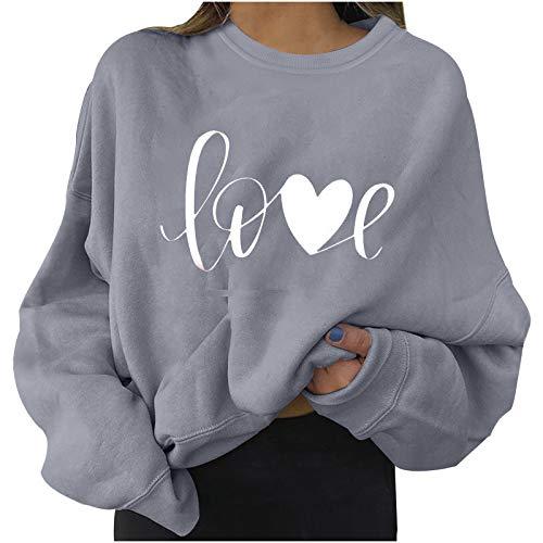 SUNNSEAN Lange Ärmel Pullover Damen Winter Pullover mit Rundhalsausschnitt, Vintage Sweatshirt Oversized Liebesmuster Pullover Teenager Mädchen Sportbekleidung Sweatshirt for Women Hoodies