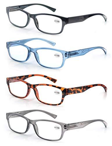 4 Pack Lesebrille 4.0 Herren/Damen,Gute Brillen,Hochwertig,Rechteckig,Komfortabel,Super Lesehilfe,fur Manner und Frauen