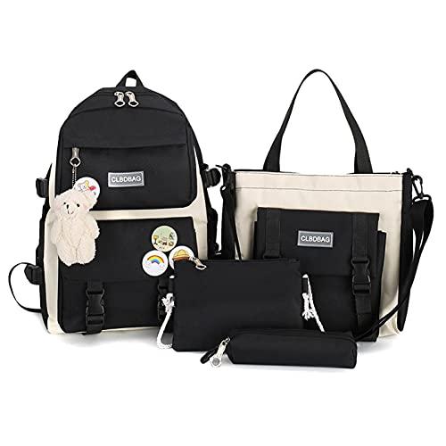 Facynde 4Pcs Schulrucksack Combo Set Mit Kawaii Teddybär Anhänger Griff Schulter Tote Bag Laptop Schultasche Für Studenten