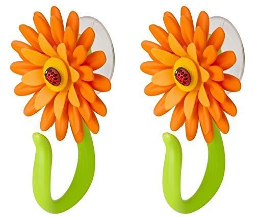 VIGAR Flower Power Türhaken Badezimmer mit Saugnapf 2 Stück, Kunststoff, orange, 8x5x12 cm, 2