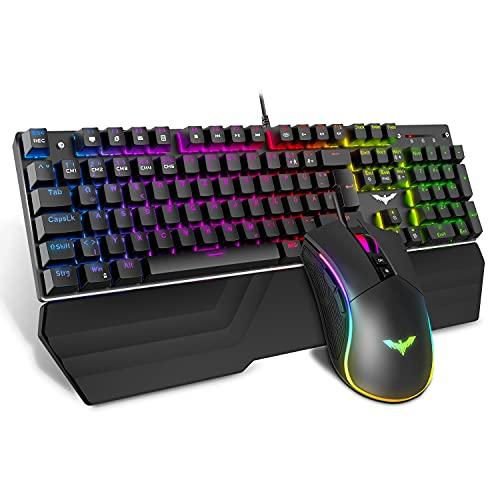 havit Mechanische Gaming Tastatur und Maus Set, RGB Hintergrundbeleuchtung QWERTZ (DE-Layout), Aluminiumoberfläche und Handballenauflage, 4800DPI RGB Wired Gaming Maus mit 7 Tasten (Schwarz)